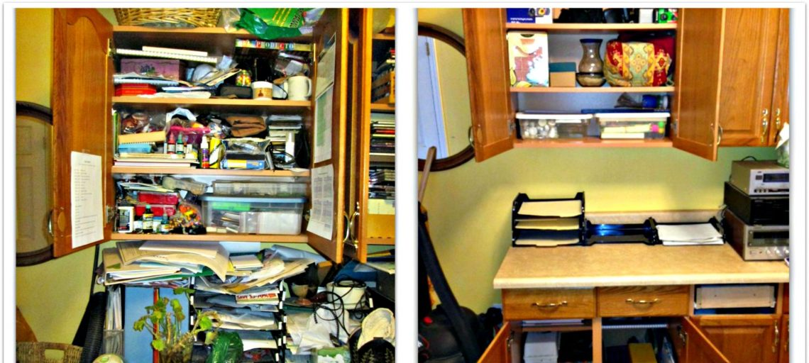 before and after pictures of a messy cupboard