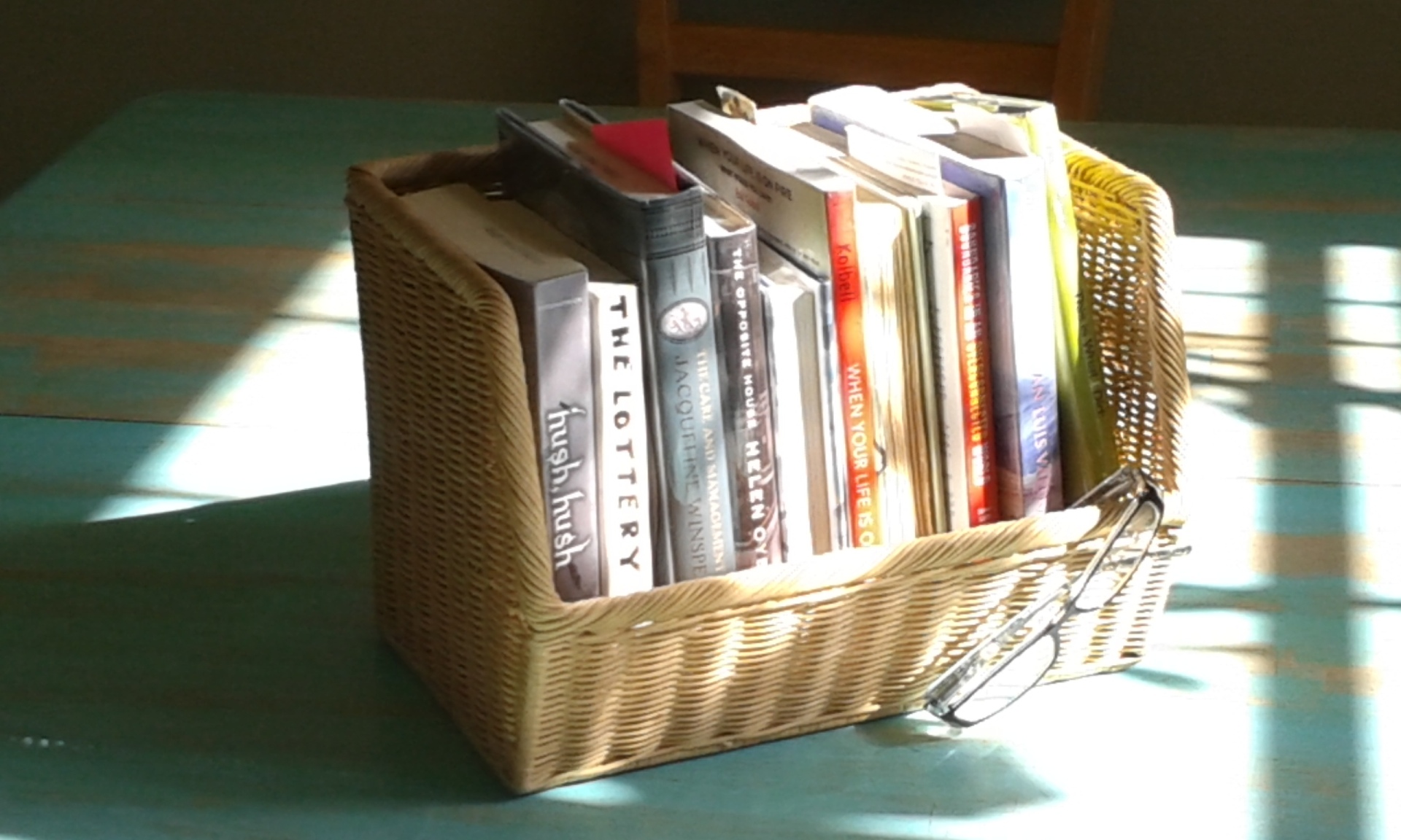 library books in a basket