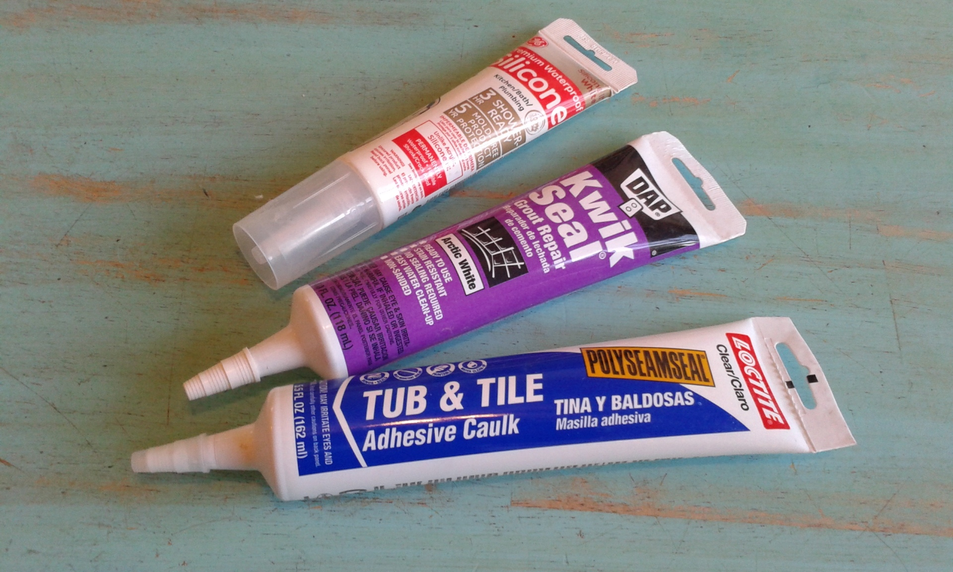 tubes of tub and tile caulk