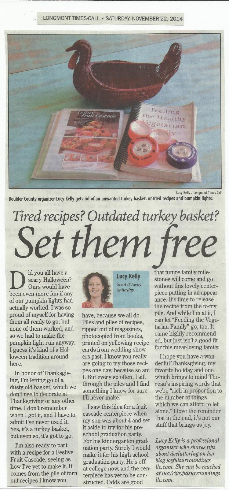 Longmont Times-Call Send it away Saturday column November 2014