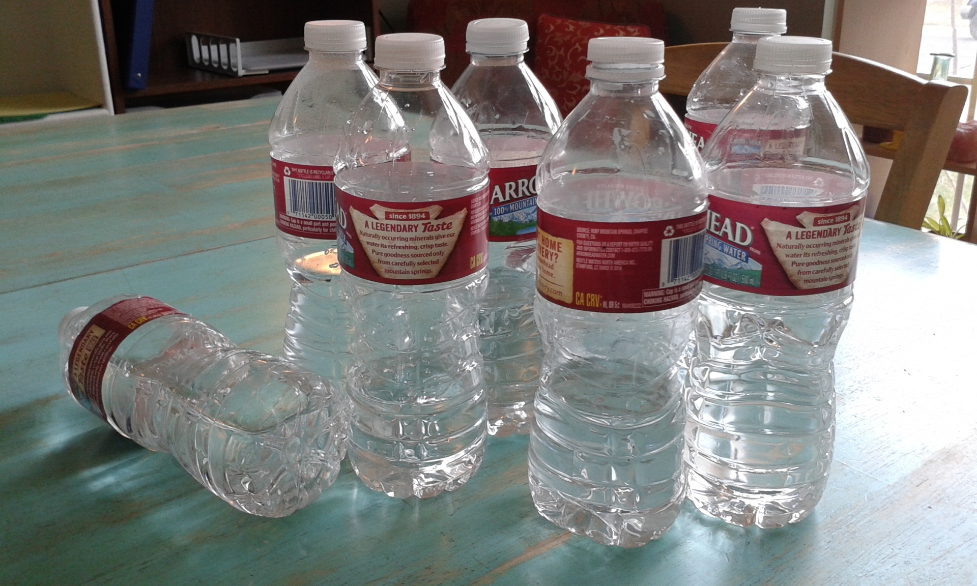 old water bottles
