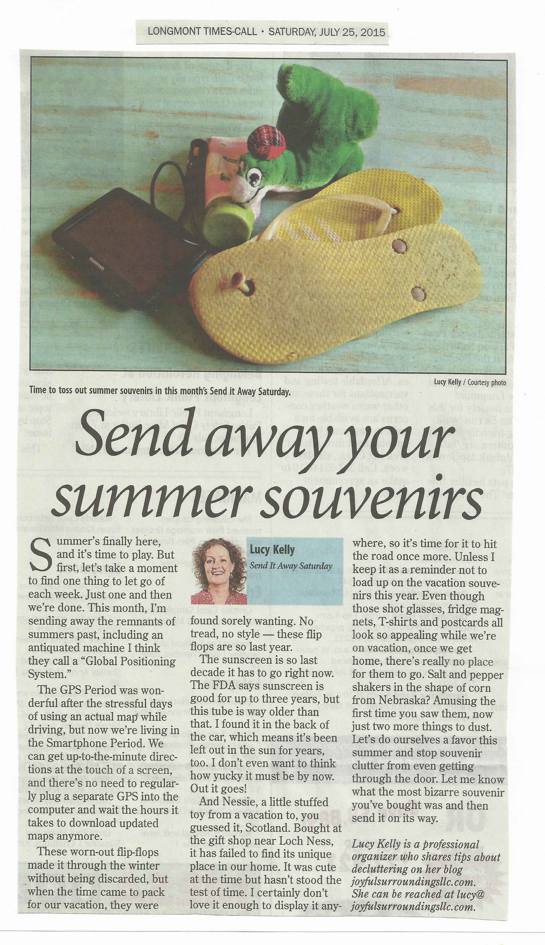 Longmont Times-Call Send it away Saturday column July 2015