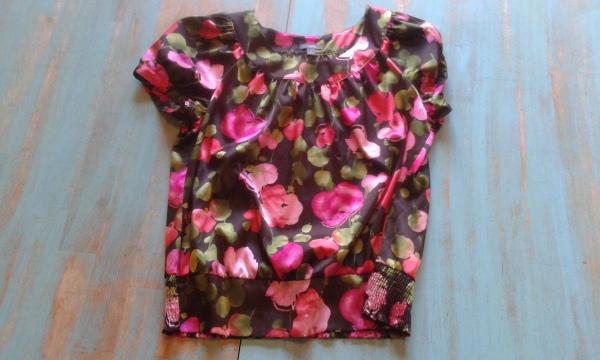 shiny floral blouse