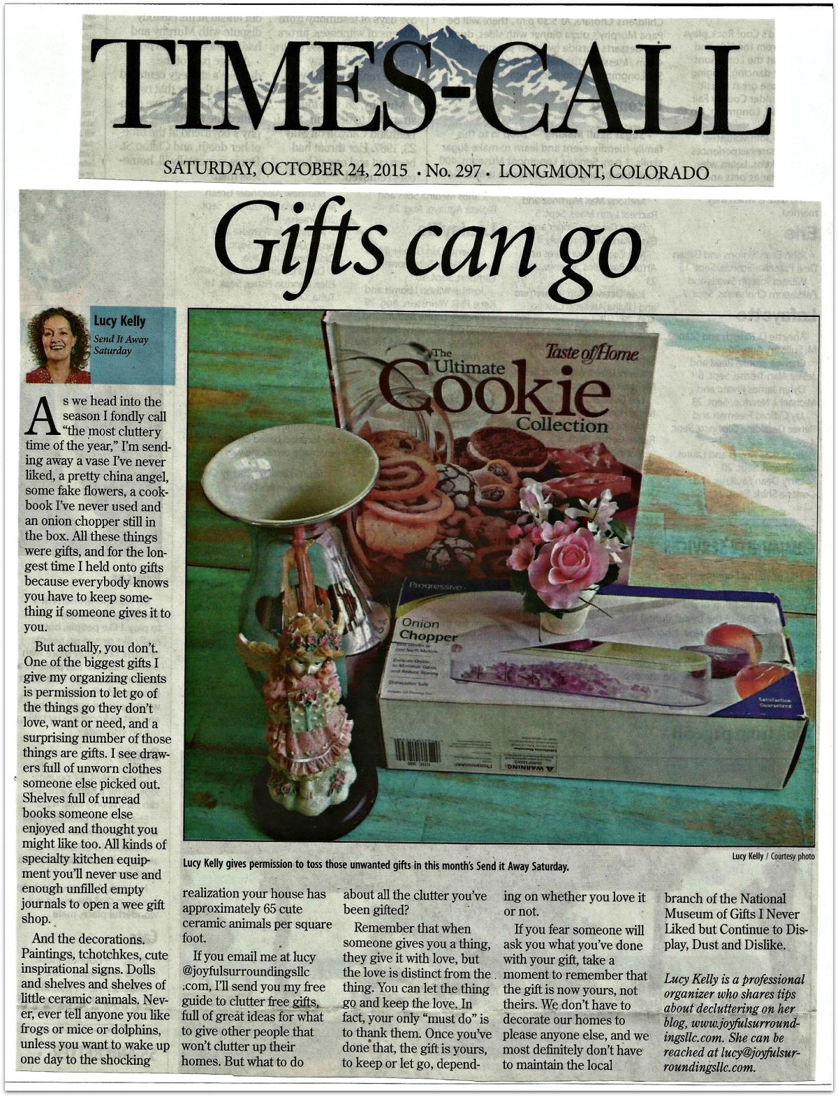 Longmont Times-Call Send it away Saturday column October 2015