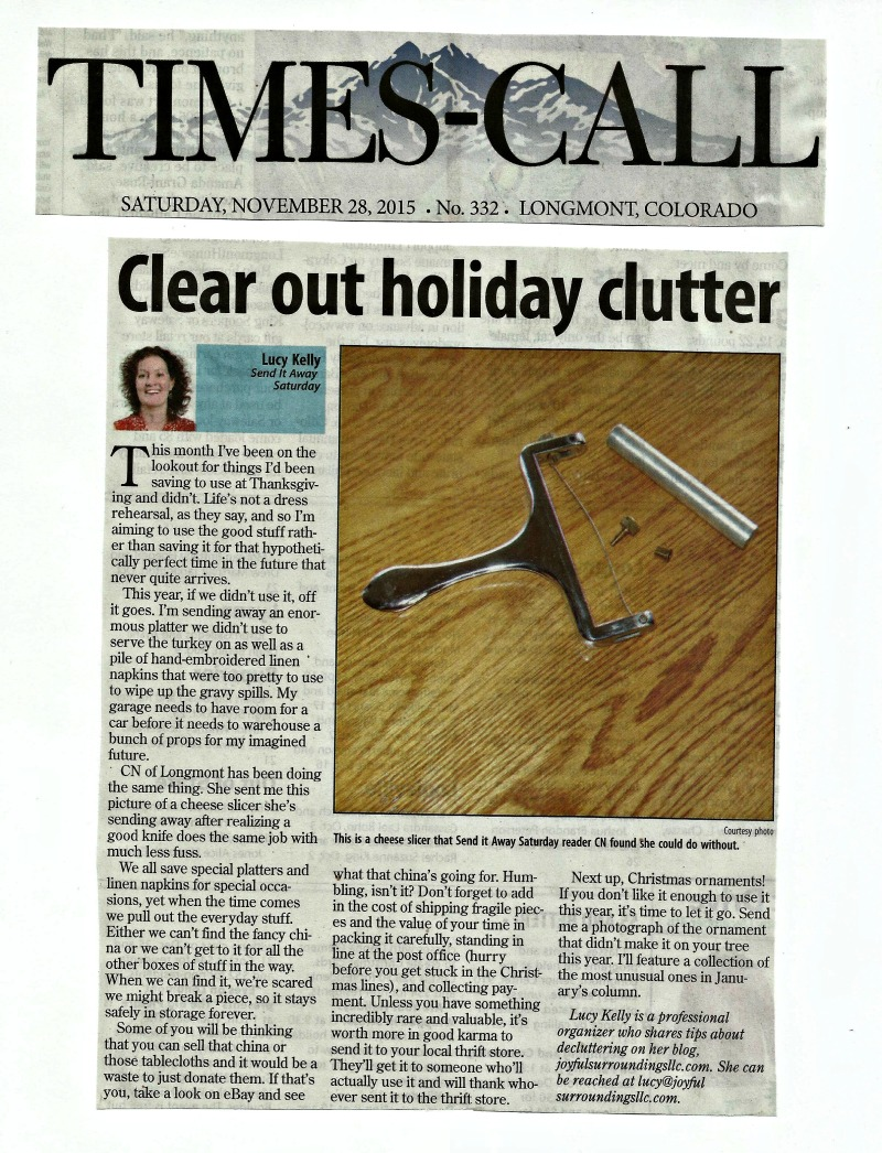 Longmont Times-Call Send it away Saturday column November 2015