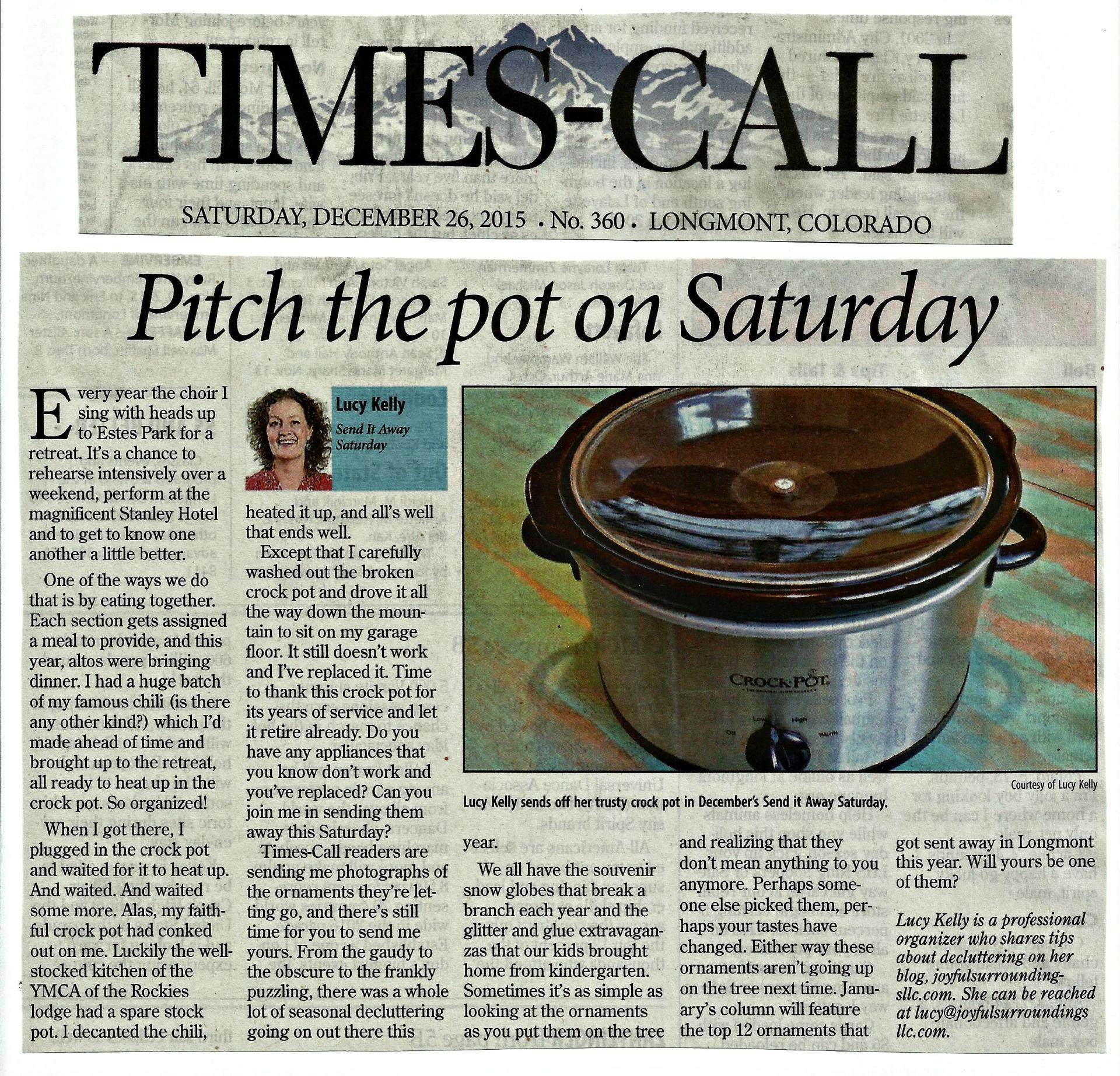 Longmont Times-Call Send it away Saturday column December 2015