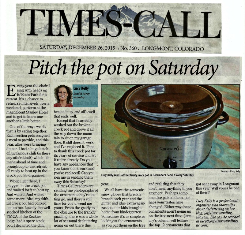 Longmont Times-Call Send it away Saturday column December 2015