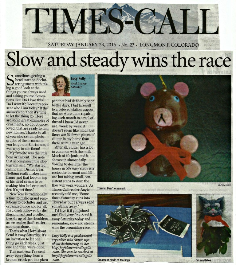 Longmont Times-Call Send it away Saturday column January 2016