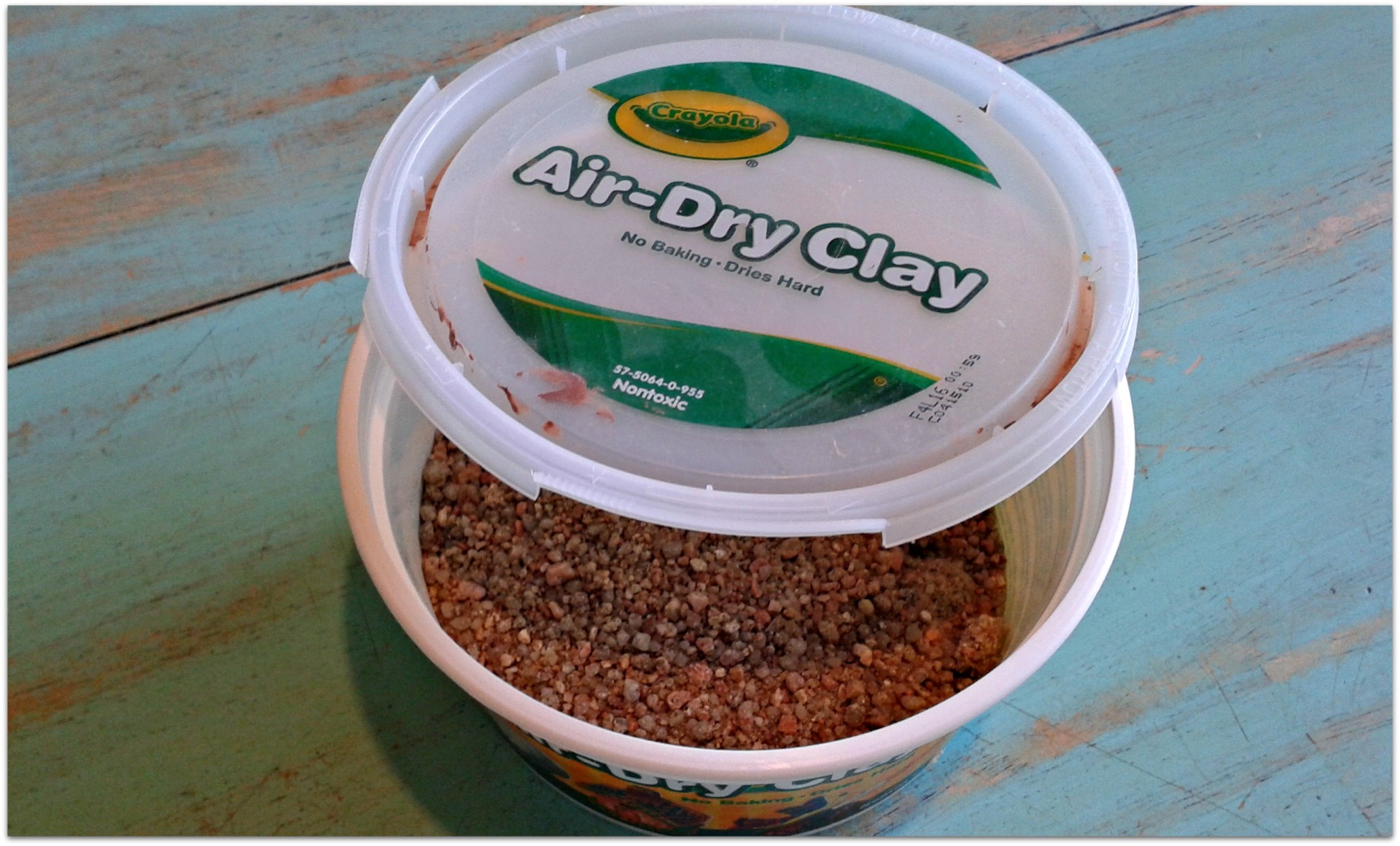 tub of dried out air clay