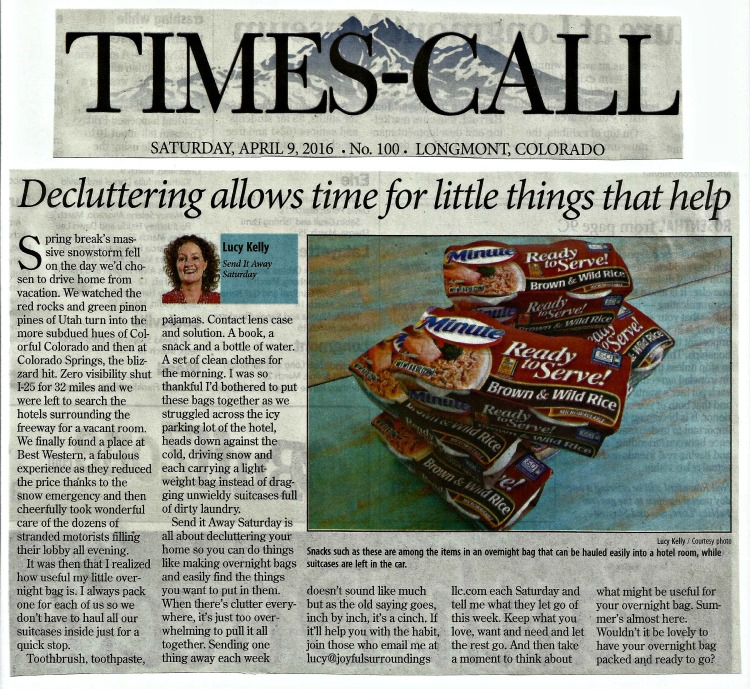 Longmont Times-Call Send it away Saturday column April 2016